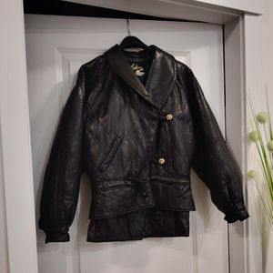 Vintage Neto Black Leather Jacket and Skirt